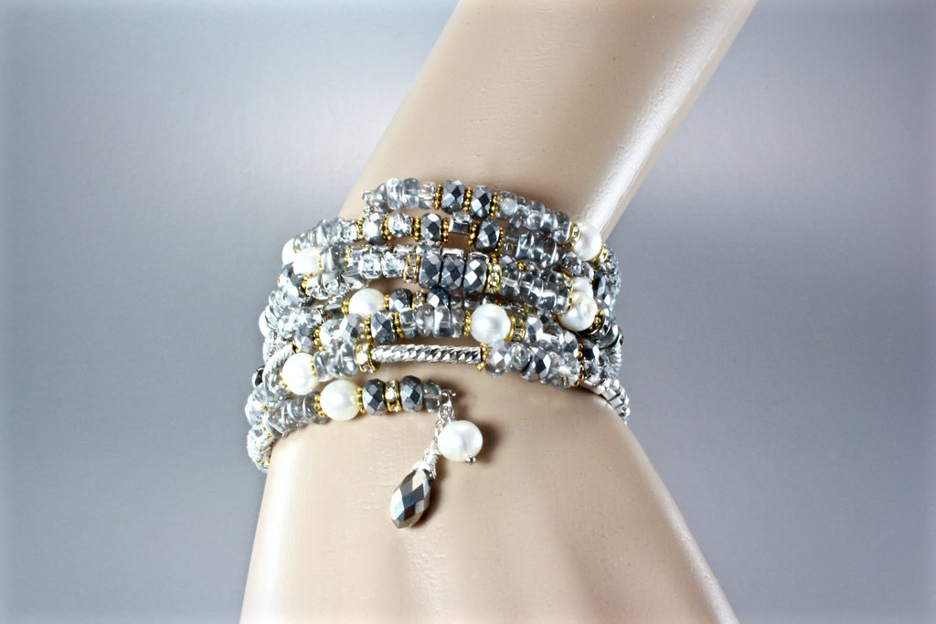 """Wonder"" - Freshwater Pearl and Crystal Two-Tone Bridal Bracelet"