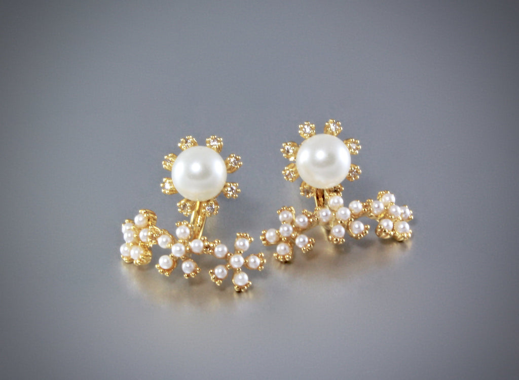 """Kyla"" - Pearl and Cubic Zirconia Bridal Earring Jackets"