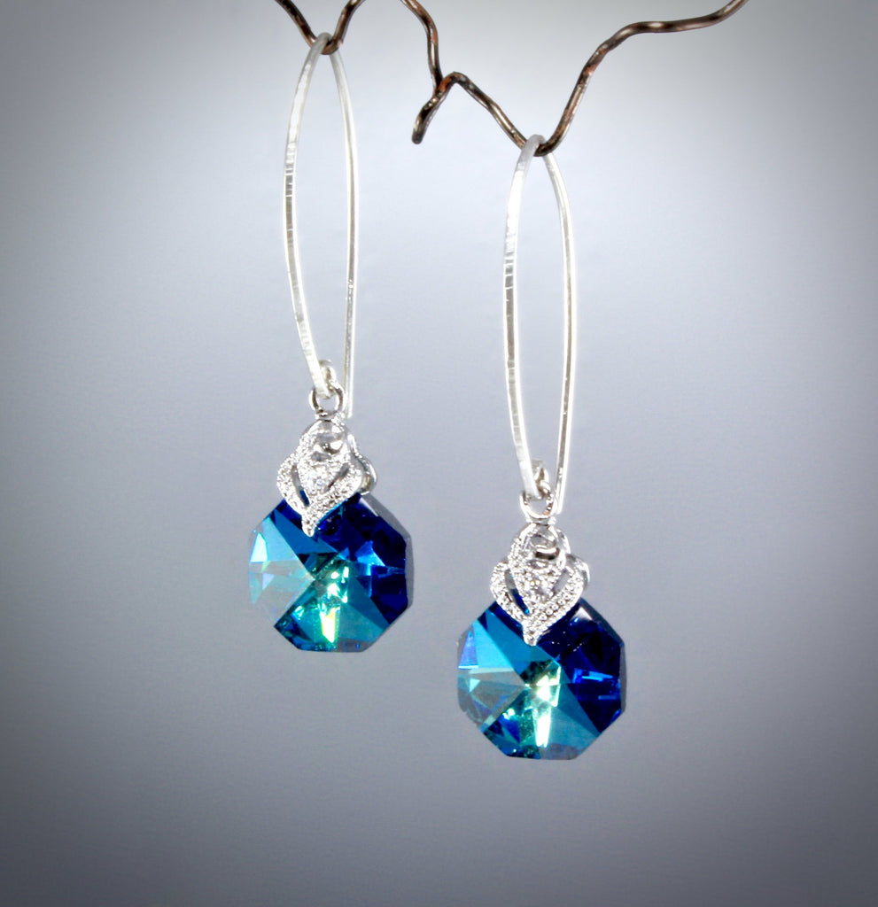"""Chloe"" - Swarovski Crystal Sterling Silver Bridesmaids Earrings"