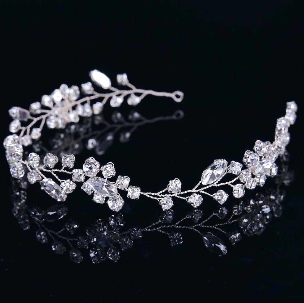 """Ellie"" - Crystal Bridal Headband"