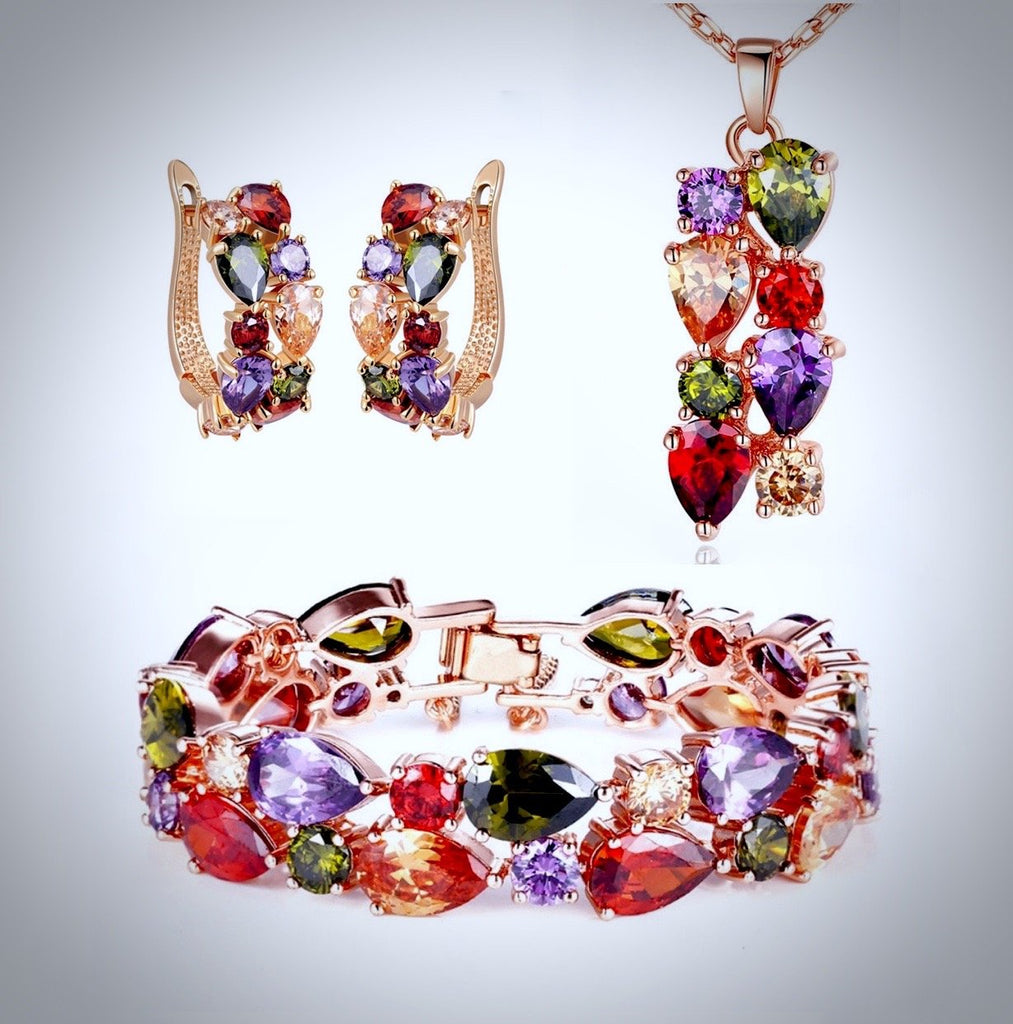 """Zara"" - Colorful Cubic Zirconia Necklace/Bracelet/Earrings/Set"