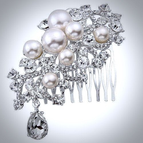 """Lorena"" - Pearl and Crystal Bridal Hair Comb"