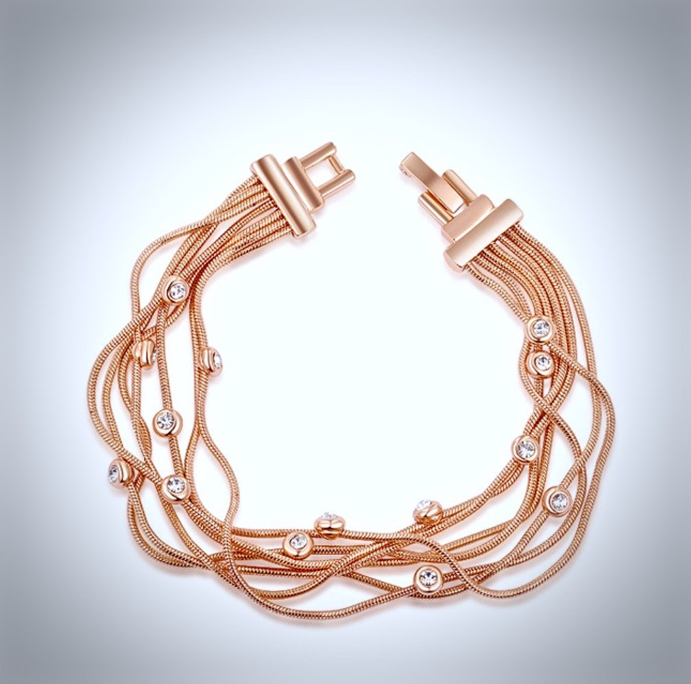 """Lyla"" - Plus Size Rose Gold and Cubic Zirconia Bracelet"