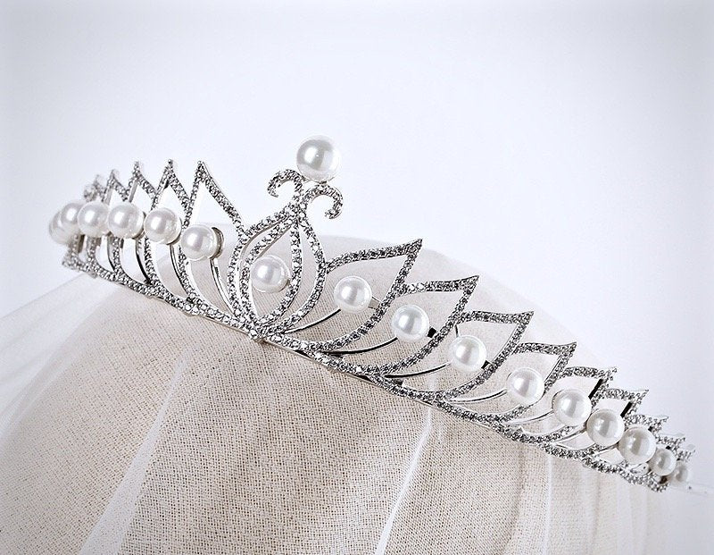 Wedding Hair Accessories - Pearl and Cubic Zirconia Bridal Tiara - Available in Silver and Rose Gold