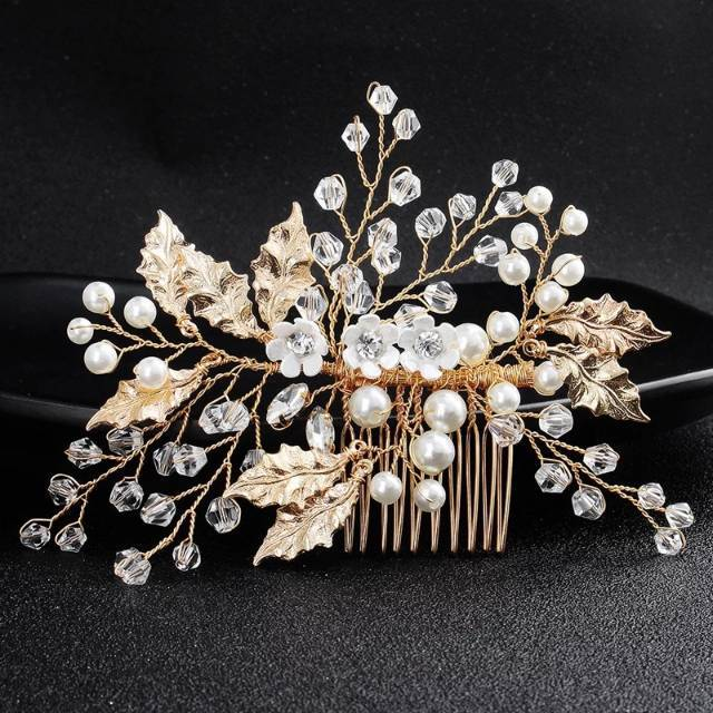 """Magda"" - Gold Pearl and Crystal Bridal Hair Comb"