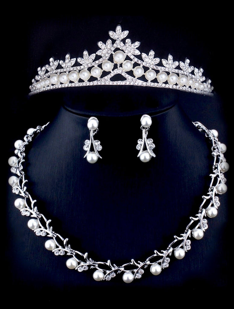 """Veronica"" - Silver Cubic Zirconia and Pearl 3-Piece Bridal Jewelry Set With Tiara"