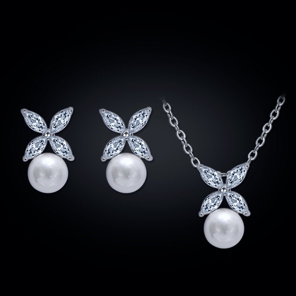 """Heidi"" - Pearl and Cubic Zirconia Jewelry Set - Available in Rose Gold and Silver"