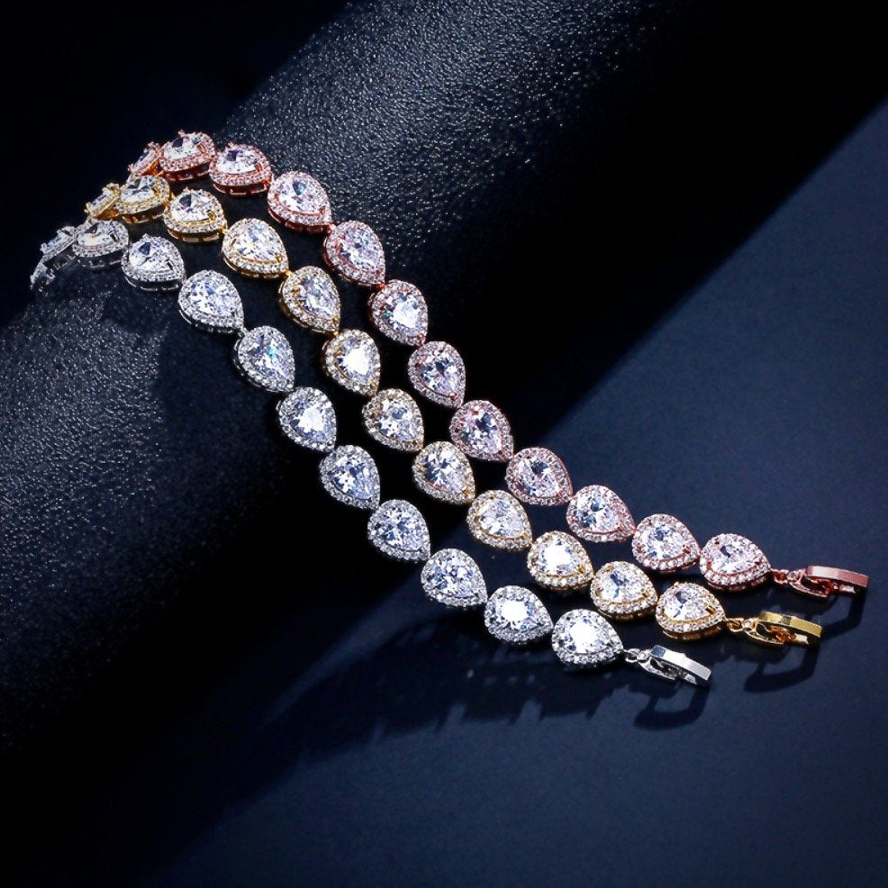 """Francesca"" - Cubic Zirconia Bridal Bracelet - Available in Silver, Rose Gold and Yellow Gold"