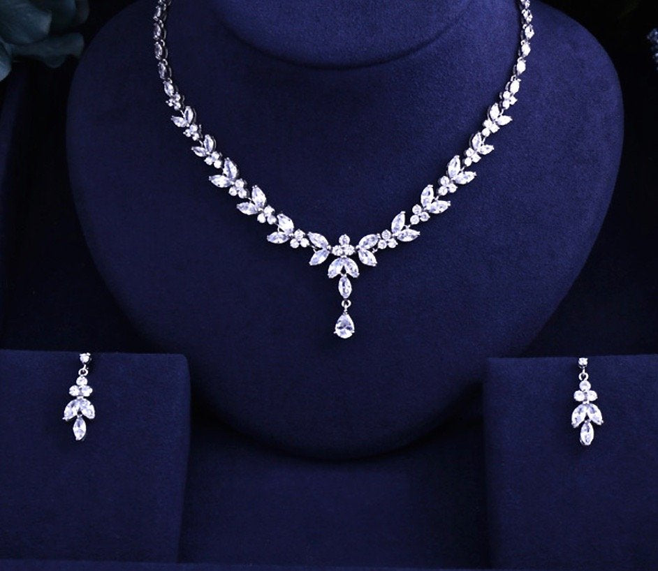 """Rebecca"" - Silver Cubic Zirconia Bridal Jewelry Set - Available in Silver and Rose Gold"