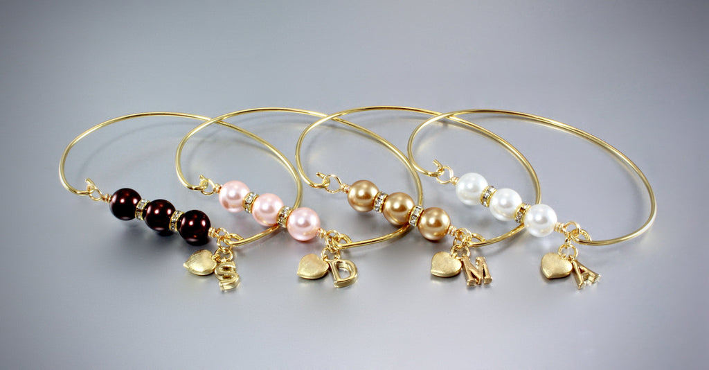 """Brittany"" - Personalized Pearl Bridesmaids Bracelet - More Colors Available"