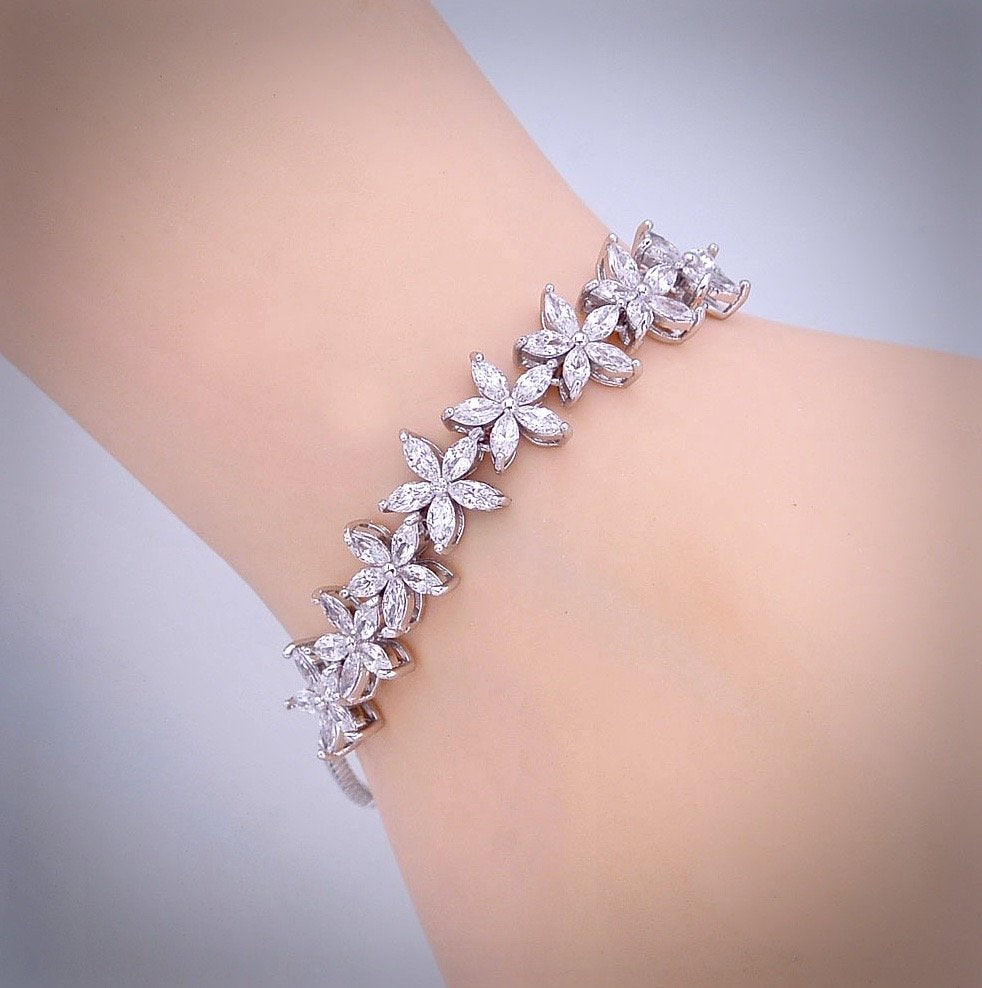 """Lisa"" - Cubic Zirconia Adjustable Bracelet - Available in Silver and Rose Gold"