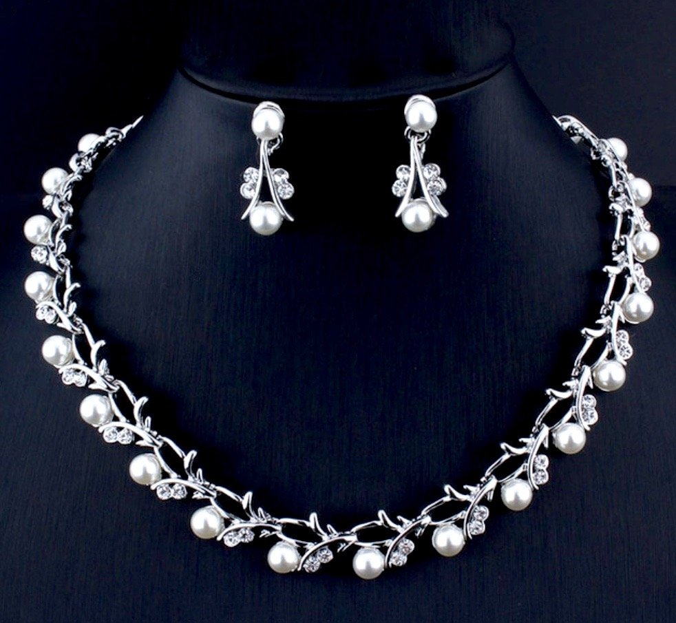 Wedding Jewelry - Silver Cubic Zirconia and Pearl 3-Piece Bridal Jewelry Set With Tiara