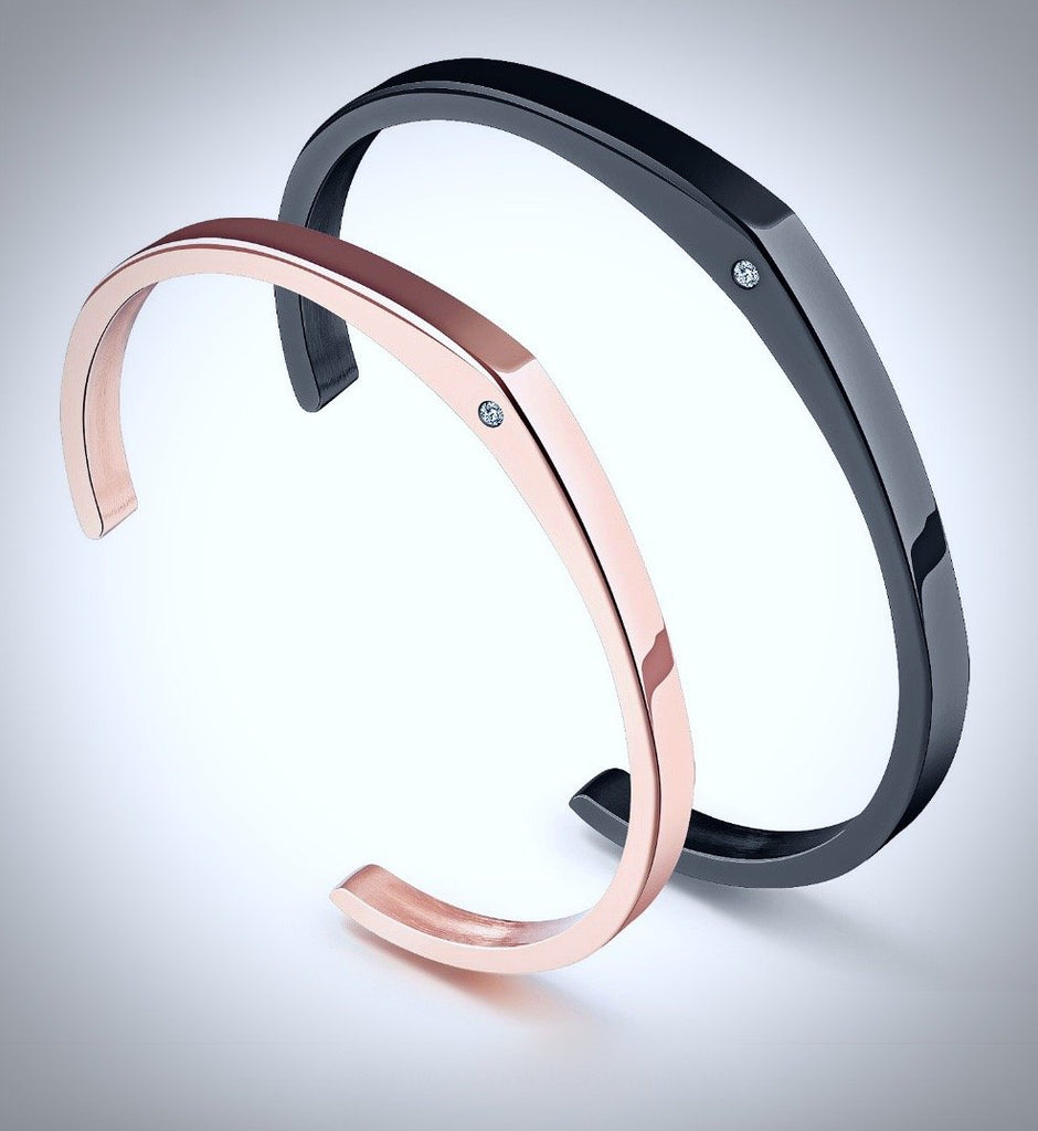 """Valentine"" - His and Hers Adjustable Bangle Bracelets"