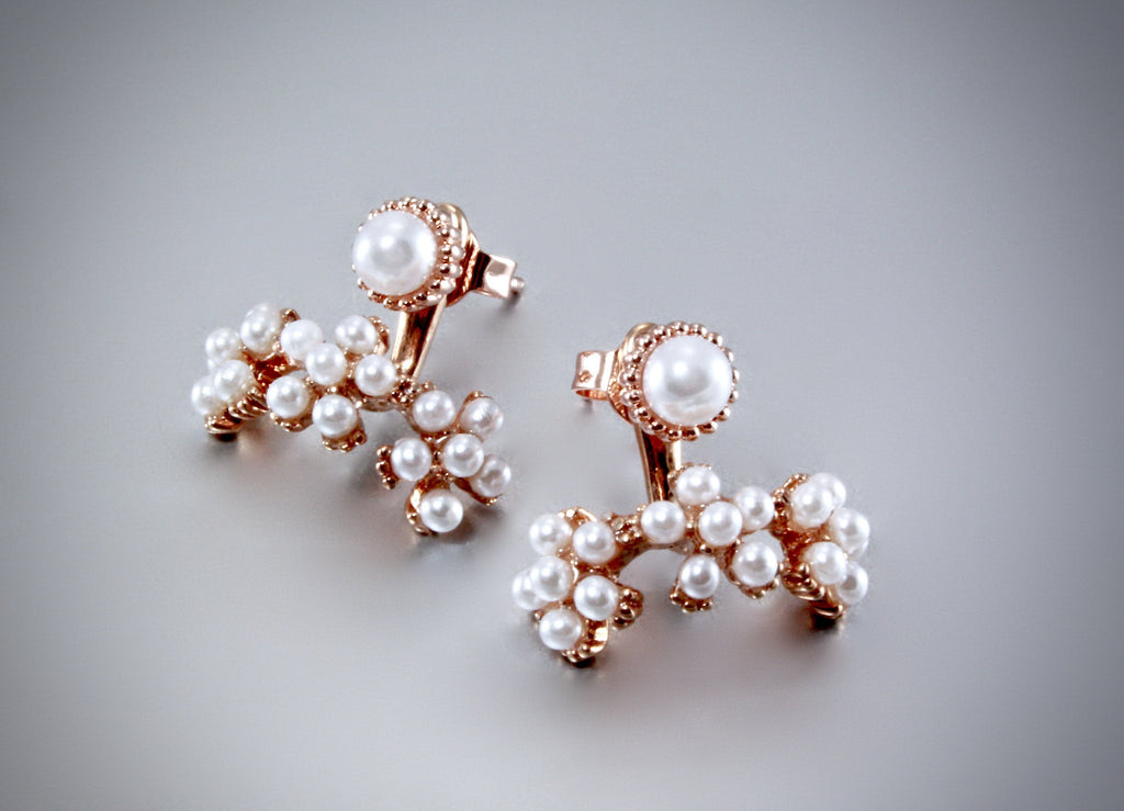 """Oriana"" - Rose Gold Pearl Bridal Earring Jackets"