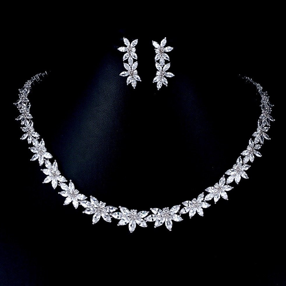 """Heather"" - Silver Cubic Zirconia Bridal Jewelry Set"