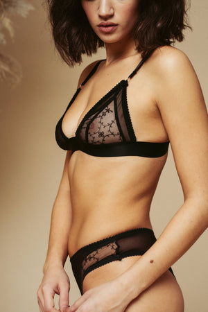 Close up of a model seen from the side, wearing the Kauf Triangle Bralette and Brazilian Knicker in black