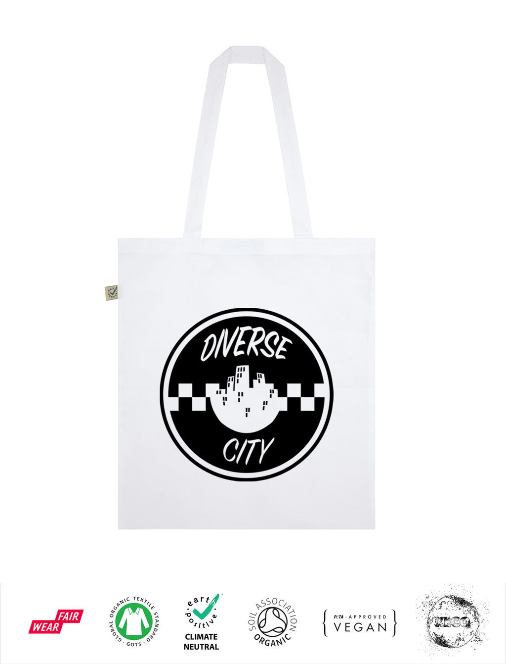 Diverse City - Checker - Earth Positive Tote Bag - Classic White
