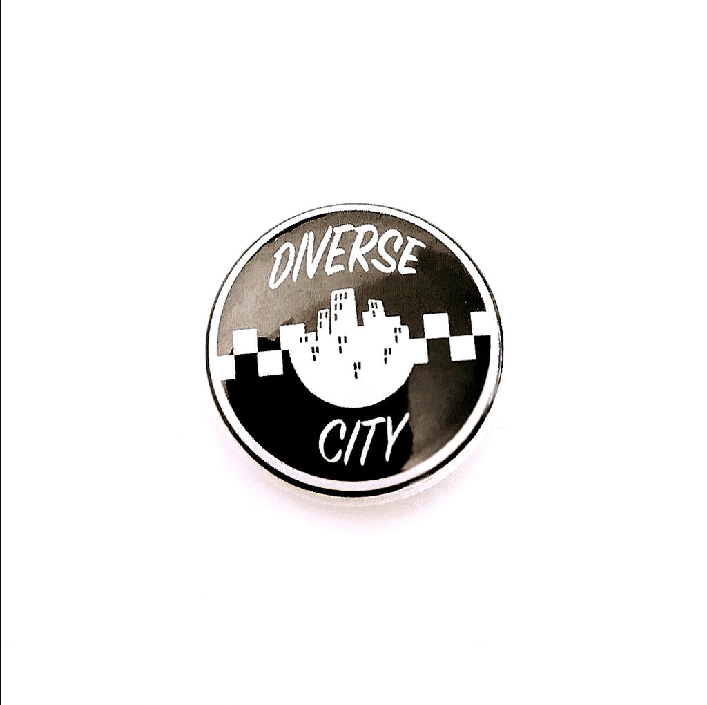 Diverse City Checker 25mm Pin Badge