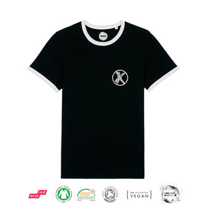 X - Unisex Retro Ringer T-Shirt - Black & White