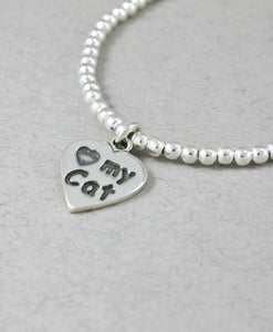 Pulsera Bolitas Broche Dije Huella I Love My Cat