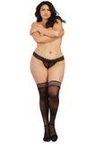 Sheer Thigh High Stockings with Striped Elastic Top