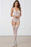Lace Teddy Bodystocking with Pearl Strand Back Detailing