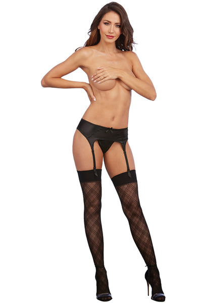 Sheer Thigh High Stockings with Knitted Plaid Design