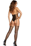 Fishnet and lace teddy bodystocking