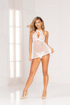 Two piece lace and point d'esprit mesh babydoll and g-string set