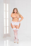 Two piece crochet lace garter belt and panty set