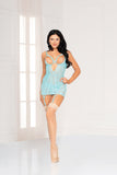Two piece floral galloon lace chemise and thong set