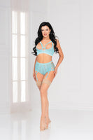 Two piece floral galloon lace long line bra and panty set