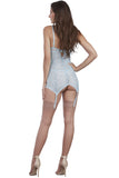 Striped Stretch Lace Underwire Garter Slip and G-String Set
