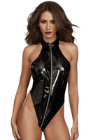 Stretch Latex High Neck Teddy with Zipper Detail Playset