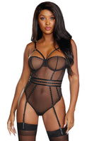 Sheer stretch mesh underwire teddy
