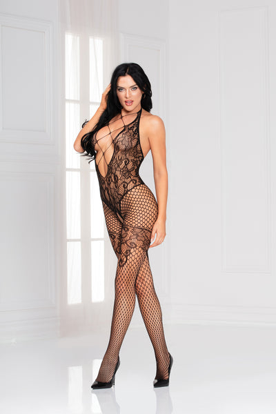 Seamless floral and net pattern open crotch body stocking