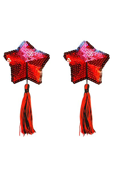 Star Spangled Red Sequin Tassel Star Reusable Nipztix