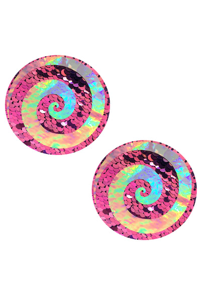 Care Bare Stare Holographic Spiral on Pink Glitter Nipztix Pasties