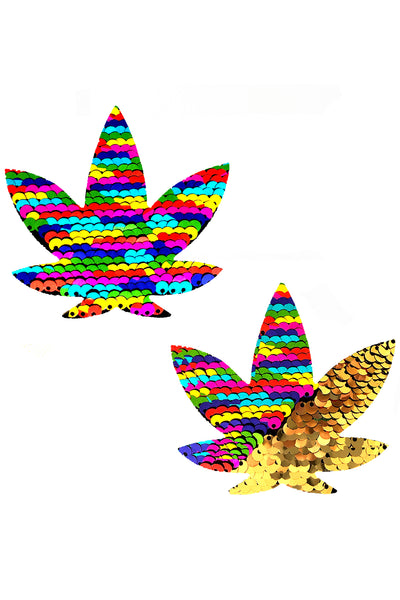 Funfetti Multicolor Sequins to Gold  Weed Leaf Pasties