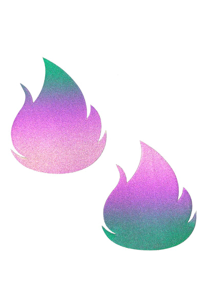 Rainbow Reflective Multicolor Flirty Flame Nipztix Pasties