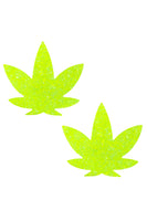 Super Sparkle Lemon Lime Blacklight Glitter Weed Leaf Nipztix