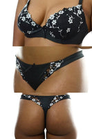 Petal Flower Embroidered Bra & Panty Set