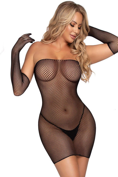 Fishnet Mini Dress Lingerie Set