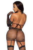 Fishnet Garter Skirt Lingerie Set