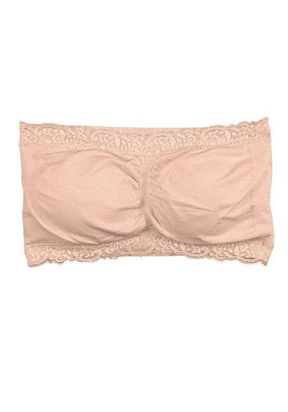Seamless Bandeau with Lace Trim