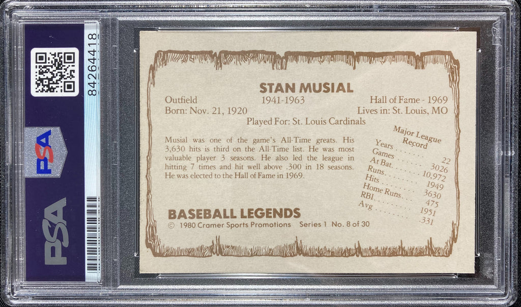 Stan Musial auto card Cramer Sports #8 1980 St. Louis Cardinals PSA Encapsulated - JAG Sports Marketing