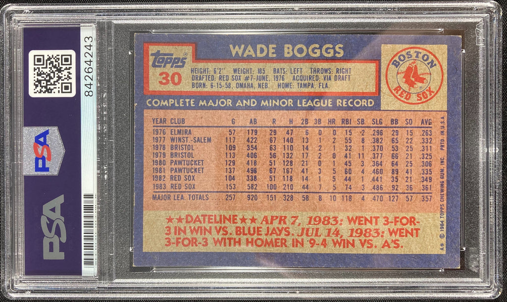 Wade Boggs auto card 1984 Topps #30 MLB Boston Red Sox PSA Encapsulated - JAG Sports Marketing