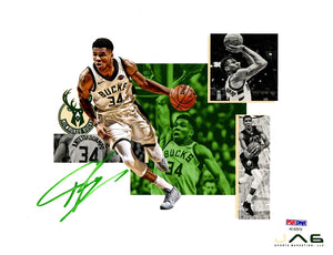 Giannis Antetokounmpo autographed 20x24 canvas NBA Milwaukee Bucks PSA - JAG Sports Marketing