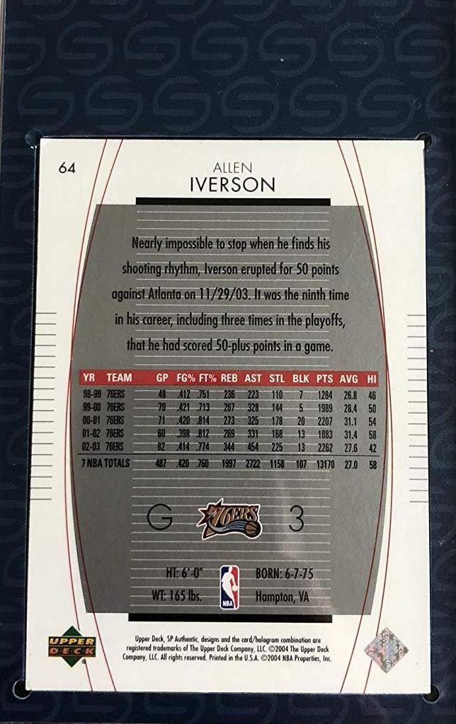 Allen Iverson autographed signed Card NBA Philadelphia 76ers Steiner Sports - JAG Sports Marketing