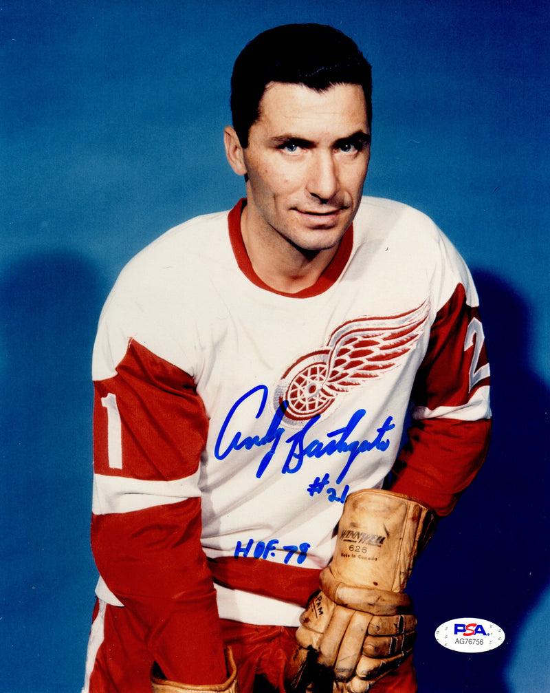 Andy Bathgate autographed signed 8x10 photo NHL Detroit Red Wings PSA COA - JAG Sports Marketing
